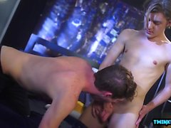 Hot twinks bareback with cum in ass