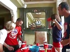 Naughty girls turn cheering into group sex action