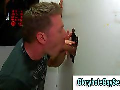 straighty enjoys sucking a cock through a glory hole