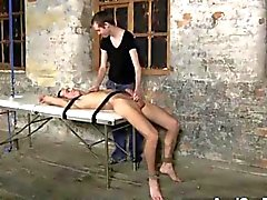 Hot gay twink blown in bondage