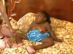 Black midget is getting licked, blows, and fucked by white dude