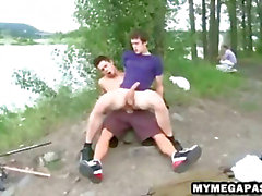 Two big cock hunks barebacking hard outdoors
