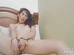 Sweet and beautiful colombian shemale jerking off with her f