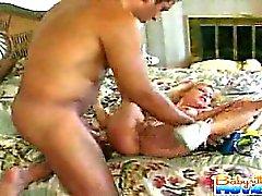 Horny innocent babysitter Nadia gets screwed by boss