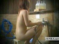 Ondertiteld echte Japanse amateur badhuis cumshot durven