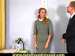 Hardcore job interview for blonde secretary