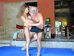 horny girl pin facesit smothering old man