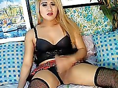 Blonde Shemale Plays her Hard Cock