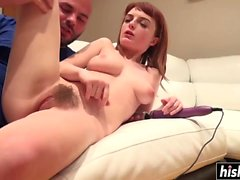 Hot Lola takes care of a big cock