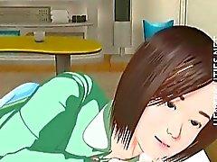 Sveglia 3D Anime ragazza ha un polluzione