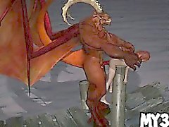 Foxy 3D cartoon babe gets fucked hard by a demon