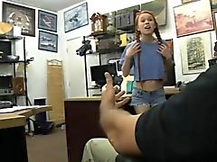 Very tiny redhead babe gets pounded at the pawnshop