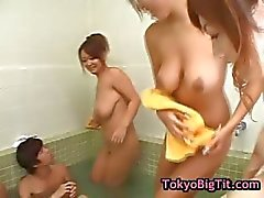 Four busty asian girls in gangbang