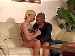 Blonde shemale In threesome with male & blonde girl