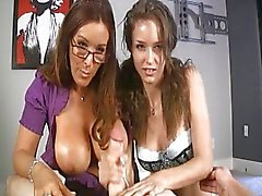 teen and mom giving delicious handjob