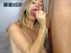 Hot big tits milf deep throat huge cock blowjob swallow