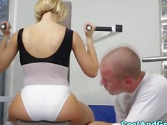 Bigtitted skank bouncing spotters dick in gym