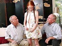 Ginger petite teen sucking oldmans junk