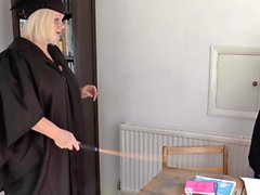 Younger blonde student gets spanked from her older teacher