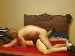 Hot daddy uses younger bareback