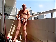 Balcony Wank in Public