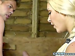 Hot cfnm babes share a cock in the barn