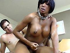 Ebony trannie tgirl gets a mouthful of cum