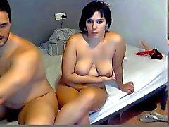 spanish marido mostrar e foder sua esposa na webcam