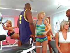 Blacks Fucking Blondes Interracial Gym Orgy