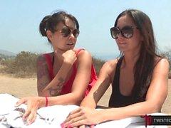 Huge Tits MILF Ava Addams And Dana Vespoli Lesbian Sex Outdoors In Public