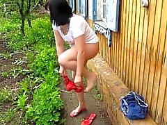 I Pee Standing Up. In The Morning In The Village