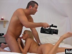 Horny guy drills a shaved pussy
