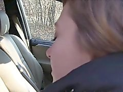 Czech amateur babe bangs in woods pov