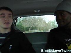 Jizzy twink rides black
