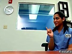 Sexy teen nurse strips during her casting