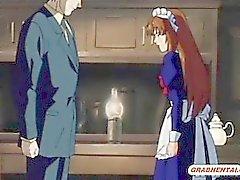 Roped servante hentai baise hard par son maître