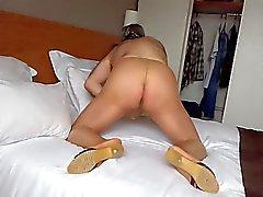 Cumshot through nylon pantyhose 001