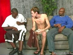 Thin amateur white guy gets gangbanged by black dicks