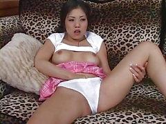 Hot asian girl masturbating and anal fuck