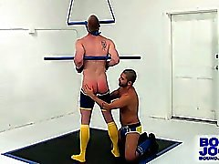 Tied Blake Daniels gets spanked and blown by Dominic