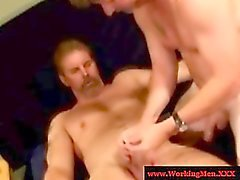 Gaystraight hairy bears tugging cock
