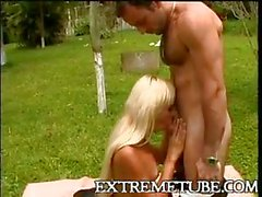 Outdoor hot oral and anal with blonde TS