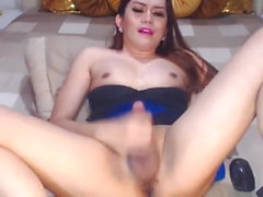 Hot Shemale Stroking her Big Hard Cock