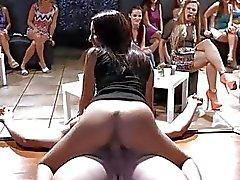 Lucky chick começa a chupar um galo studs