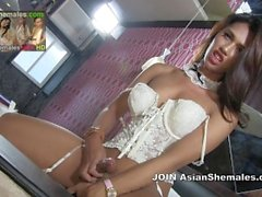 Argiel from Philippines in White Lace Corset Enjoys Masturbating
