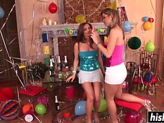 Naughty lesbians masturbate with a bottle