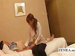 Subtitled Japanese hotel massage masturbating surprise