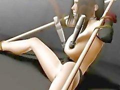 Vastgebonden 3d hentai meisje Tifa getting toyed