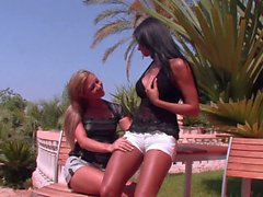 European babe Ashley Bulgari gets her small tits eaten outdoors
