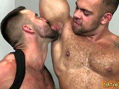 Muscle bear blowjob with facial cum